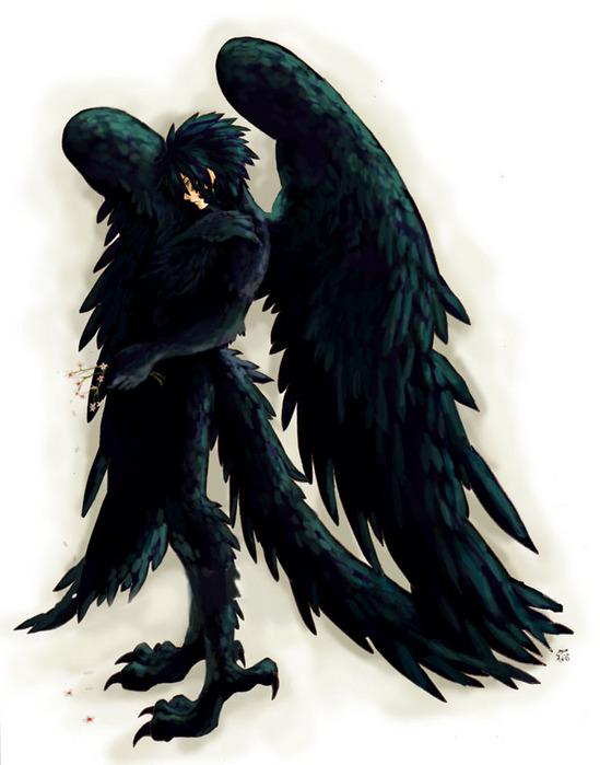 raven crow half man - photo #13
